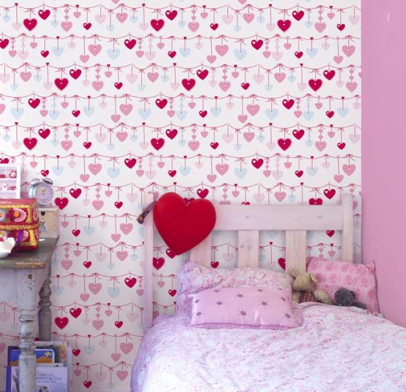 C mo renovar habitaciones infantiles con papel pintado - Combinar papel pintado y pintura ...