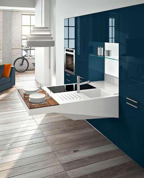 Modernas cocinas de dise o compacto para espacios peque os for Muebles de cocina para espacios pequenos